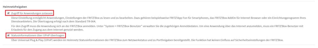 fritzbox - upnp